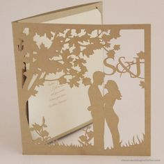Stefanie and Jason approached us with a very specific brief and idea of what they wanted. A beautiful leafy design with soft pastel colours scattered with beautiful quotes from their favourite movies. This design is based on the traditional trifold design.