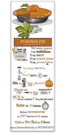Rustic Pumpkin Pie Recipe 100% Cotton Flour Sack Dish Towel Tea Towel www.aloveofdishtowels.com
