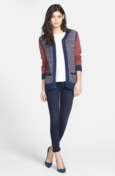 polished casual fall outfit - navy & burgundy sweater blazer paired with a classic white tee & dark wash jeans
