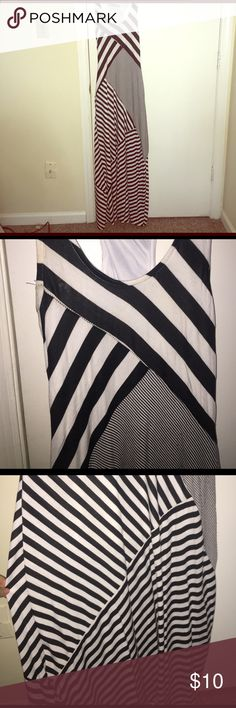 Black & White Striped Maxi Dress Super comfortable maxi dress by Bailey Blue. Patchwork design is EXTREMELY flattering and it's cool for hot summer nights. Trendy racerback and flared skirt. MACHINE WASHABLE! I've cut the tag out (it was itchy), but it fits women's size 4-6. Bailey Blue Dresses Maxi