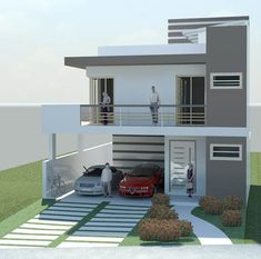Ideas for exterior colors coastal house plans 2 Storey House Design, Bungalow House Design, House Front Design, Small House Design, Modern House Design, Minimalist House Design, Coastal House Plans, Modern House Plans, House Elevation