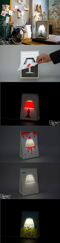 Lamp embedded in calendar, designed by Connect Design.
