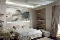 chambre-coucher-adulte-fleurs-décoratives-tableau-3d-étagères-bois