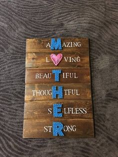 String art / String sign / Mother's day / DIY string art / #motherdaygifts #CrochetMothersDay