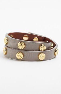 Tory Burch Logo Leather Wrap Bracelet
