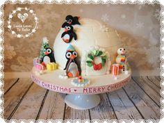 Winter wonderland Christmas Igloo cakes with a fun family of cute penguins! Handmade by Igloo Cake, Winter Wonderland Christmas, Cute Penguins, Floral Style, Dairy Free, Wedding Cakes, Xmas Cakes, Vegan, Baking