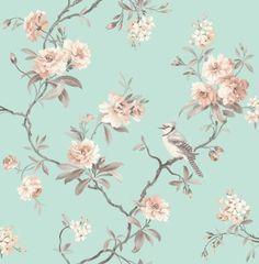 Chinoiserie - Birds - Trees - Flowers - Blossom - Duck Egg / Cream - Wallpaper in Home & Garden, Building Materials & DIY, Wallpaper & Accessories | eBay
