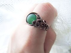Green Agate Ring Natural Woodland Copper Ring with by KicaBijoux