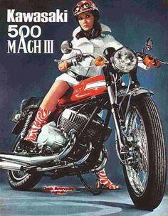 Vintage Motorcycles 627830004288676861 - Vintage Kawasaki 500 Mach III 3 Motorcycle T-Shirt. Classic Seventies Bike Advert Motorbike Tee B Source by pontviannechristine Kawasaki 500, Motos Kawasaki, Kawasaki Motorcycles, Vintage Motorcycles, Old School Art, Scooter Moto, Japanese Motorcycle, Classic Motorcycle, Women Motorcycle