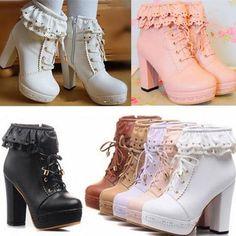 Japanese sweet lolita falbala high-heeled boots