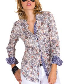 Look at this Cino Gray Paisley Floral Button-Up on #zulily today!