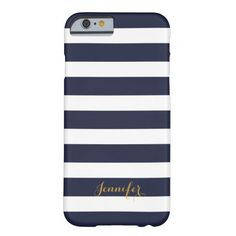 Navy Blue and Gold Classic Stripes Monogram Barely There iPhone 6 Case http://www.zazzle.com/navy_blue_and_gold_classic_stripes_monogram_case-179043530237113809?rf=238955018851999137