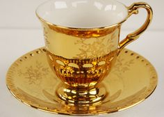 Crown Deco Duo Art Deco 1930s Gilt Cup by Yonks