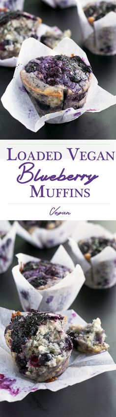 Delicious, fully loaded Vegan Blueberry Muffins. #vegan #muffins #blueberry #breakfast #recipes