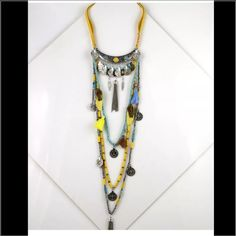 Gypsy necklace Gypsy vintage long boho necklace  Material:  Alloy chain + turquoise + Rope Jewelry Necklaces