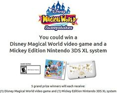Enter for a chance to be 1 of 5 Winners to receive a Mickey Edition Nintendo 3DS XL System & (2) Mickey World Video Games from Disney. Daily Entry. Ends 4/27/14.  http://sweepstakesfrenzy.com/?p=5336