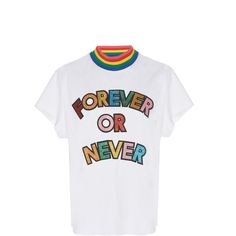 Mira Mikati Forever Or Never Patch High-Neck Shirt (€260) ❤ liked on Polyvore featuring tops, white, ribbed high neck top, white top, white collar shirt, white ribbed shirt and white ribbed top