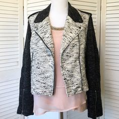 Black & ecru boucle Harve Benard moto jacket So chic. Black and ecru colorblocked boucle. Moto jacket styling with pewter toned hardware. Zippers and snaps everywhere! Epaulets and quality tailoring details such as shoulder vents at back for ease of motion. Fabric has some weight and jacket is lined in black poly satin. NWT; never worn. Harve Benard Jackets & Coats