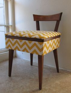 Mid Century Sewing Stool / Vanity Bench - Reupholstered