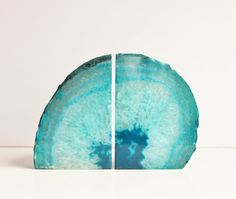 etsy (purestoneworks) | agate bookends teal pair
