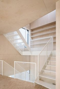 Image from SCL - Holzmassivhaus by MIND Architects Collective in Bischofsheim, Germany. Metal Stairs, Modern Stairs, Architecture Design, Ancient Architecture, Sustainable Architecture, Landscape Architecture, Stairs To Heaven, Balustrades, Stair Handrail