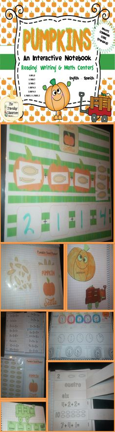 This Interactive notebook is great for reading, writing, and math centers!  Best for 1st - 2nd graders...  Teacher Instructions & real student photo examples All Activities in English and Spanish Pumpkin color word flaps and sentence practice activity Full Size Pumpkin Analog and Digital Clock for your classroom Cut and Paste clock worksheet Pumpkin Seed Manipulatives Math Mat Pumpkin Seed Pockets to store  Addition and number word flaps to help solve math problems!