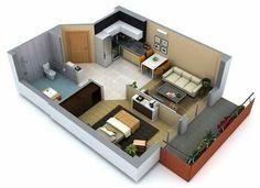 Apartamento pequeno de 1 quarto