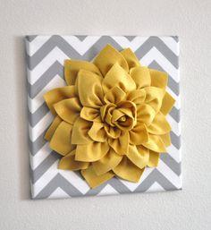 DRIE bloem Wall Decor Mellow Yellow Dahlia op grijs door bedbuggs