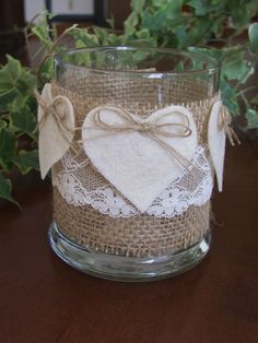 A couple of weeks ago I went to an intimate dinner party and thought the presentation would be great for a Valentine Day dinner. These Valentine's decoration ideas would work for just the two of you or an intimate party… Continue Reading → Rustic Candle Holders, Candle Holders Wedding, Wedding Jars, Wedding Ideas, Wedding Reception, Simple Table Decorations, Valentine Activities, Valentine Ideas, Burlap Crafts