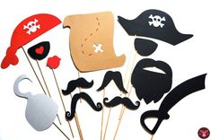 Pirate Photo Booth Props - 13 pieces on a stick - Birthdays, Weddings, Parties…