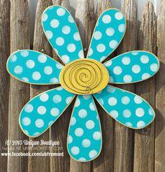 BIG 22 inch wood Daisy FLOWER spring Turquoise Teal blue POLKA dot Door Hanger Decor Hanging Garden wooden sign