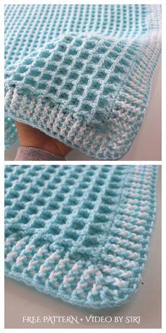 Crochet Baby Blanket Free Pattern, Easy Crochet Blanket, Baby Afghan Crochet, Crochet Stitches Patterns, Baby Knitting Patterns, Free Crochet, Crochet Baby Blankets, Baby Afghans, Baby Afghan Patterns