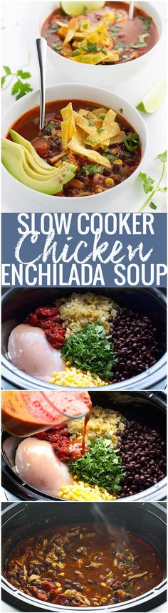 Chicken Enchilada Soup (Slow Cooker) easy to make and so flavorful! #enchiladasoup #slowcooker #slowcookersoup #crockpot | Littlespicejar.com