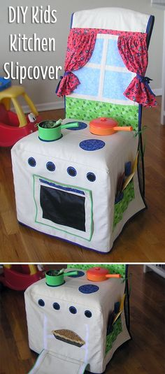 Isn't this the most adorable thing you've seen? A simple DIY slipcover you can make for any chair to instantly turn it into a kids kitchen, with everything included! Just darling: www.ehow.com/...