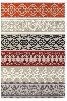 Photo 1 Deux dernière ligne Jacquard-woven rug, made from mixed cotton and chenille yarns with plush effect, featuring precious Eastern-decorated stripes and contrasting warm colors.