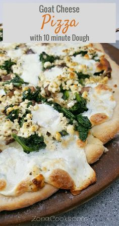 Goat Cheese Pizza with 10 minute dough - This white cheese pizza is easy, quick and has a delicious savory flavor with goat cheese, spinach, mushrooms and gooey melted mozzarella cheese. The dough only takes about 10 minutes to prepare. White cheese pizza generally has no sauce, just a covering of some garlic, olive oil and herbs, often topped with mozzarella cheese and whatever other toppings you prefer. But you can also put a creamywhite sauce, like an Alfredo or béchamelsauce, on…