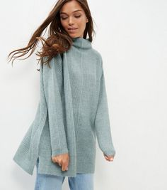 Light Green Ribbed Funnel Neck Jumper | New Look