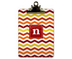 Warm Chevron Clipboard | Chevron Clip Boards | PaperConcierge.com | Personalized Stationery, Party Invitations and Personalized Gifts