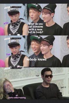 LANGUAGES español português français deutsch العربية 한국어 中文 Bobby makes joke. No one is amused. Kim Jinhwan, Hanbin, Korean Music, Korean Drama, Korean Idols, K Pop, Bobby, Lee Hi, Vixx