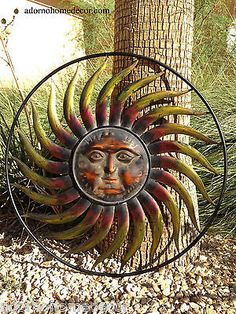 Patio Wall Decor copper patina sun face extra large sunburst metal wall art hanging