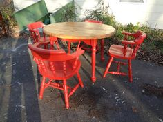 Heir and Space - Fun and funky red solid pine dining set, Swedish vintage