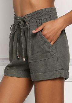 430e3da8c2a Olive Linen Drawstring Cuffed Shorts - Clothes - New Junior Outfits, Short  Outfits, Short