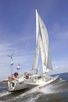 He built it. Fast Boats, Sail Away, Boat Design, Small Boats, Luxury Yachts, Catamaran, Sailboat, Beautiful World, Sailing Ships