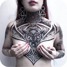 Geometric chest-piece made by Chalana Dots in Costa Rica - Tattoo Images Geometric Throat Tattoo, Tribal Neck Tattoos, Neck Tattoos Women, Chest Tattoos For Women, Head Tattoos, Body Art Tattoos, Full Body Tattoos, Geometric Tattoo Chest, Cool Chest Tattoos