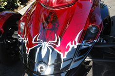 Airbrushed hood with spider