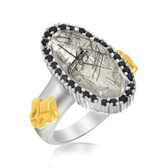 18K Yellow Gold  Sterling Silver Oval Rutilated Quartz Fleur De Lis Ring -- More info could be found at the image url. (This is an affiliate link) #FashionRings