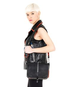 HTC LEATHER SHOULDER BAG Black leather bag  with red trim removable leather shoulder strap decorated with studs front buckle closure Size: 25x18x10 cm 100% Leather