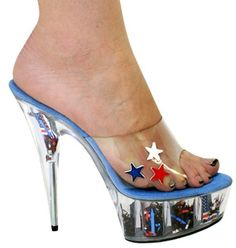 Womens Shoes USA Stars Heels Open Toe Flag America 4th July Clear Sexy Karo #KarosShoes #PlatformsWedges #Clubwear