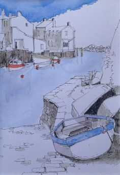 E@DrawnYorkshire #DrawingAugust a blue boat in Roxby Beck Staithes for day 9