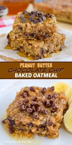 Peanut Butter Chocolate Chip Baked Oatmeal - this easy baked oatmeal is full of peanut butter and chocolate chips. Try a warm square drizzled with honey for an amazing breakfast choice! #bakedoatmeal #peanutbutter #breakfast #casserole #backtoschool #recipe Peanut Butter Breakfast, Breakfast Bake, Breakfast Casserole, Baked Oatmeal Casserole, Peanut Butter Oatmeal, Breakfast Healthy, Chocolate Oatmeal Cookies, Chocolate Chips, No Bake Oatmeal Bars